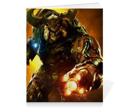 """Тетрадь на скрепке """"Doom 4"""" - doom, шутер, дум, кибердемон, cyberdemon"""