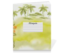 """Тетрадь на скрепке """"Тропические цветы, пальмы."""" - цветок, пальма, акварель, тропики"""