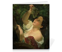 """Тетрадь на скрепке """"Итальянский полдень (Картина Карла Брюллова)"""" - картина, виноград, брюллов"""