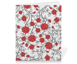 """Тетрадь на скрепке """"Красные Розы"""" - цветы, рисунок, розы"""