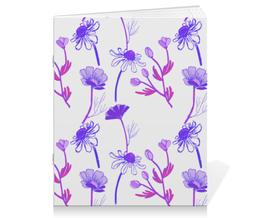 "Тетрадь на скрепке ""Winter camomile"" - арт, ромашка, purple, паттерн"