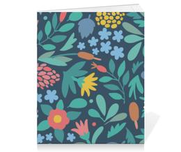 """Тетрадь на скрепке """"Цветочная"""" - цветы, листья, растения, текстура, флора"""