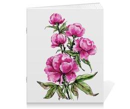 """Тетрадь на скрепке """"Пионы"""" - цветы, весна, розовый, подарок, пион"""