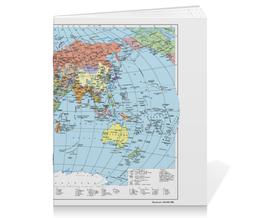 """Тетрадь на скрепке """"Карта мира"""" - мир, страны, карта, политика, география"""
