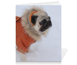 "Тетрадь на скрепке ""Тетрадь ""Мопс"""" - собака, зима, мопс, снег, пёс"