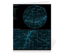 """Тетрадь на скрепке """"Карта звёздного неба"""" - карта, дизайн, звёзды"""