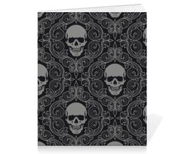 """Тетрадь на скрепке """"Texture skull"""" - skull, череп, обои, текстура"""
