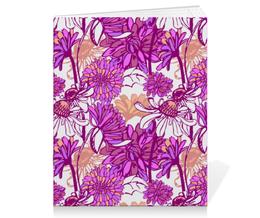 "Тетрадь на скрепке ""Purple blossom"" - арт, цветок, purple, паттерн, фиолетовый цветок"