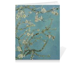 "Тетрадь на скрепке ""Цветы миндаля (Ван Гог)"" - картина, ван гог, живопись"