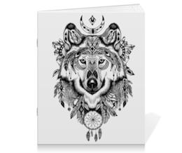"""Тетрадь на скрепке """"Тотем. Волк"""" - графика, волк, тотем"""