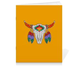 """Тетрадь на скрепке """"Этнический бык"""" - 23 февраля, желтый, этно, бык, bull"""