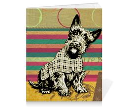 """Тетрадь на скрепке """"Скотч-терьер"""" - милый, пес, собака, яркий"""