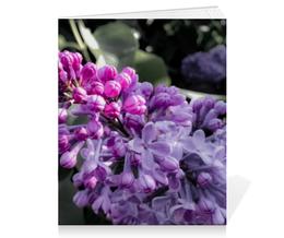 """Тетрадь на скрепке """"Сирень"""" - лето, цветы, сирень, розовый, зеленый"""