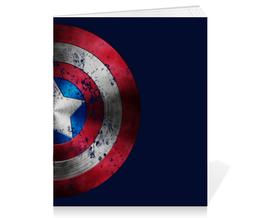 """Тетрадь на скрепке """"Капитан Америка"""" - комиксы, супергерой, мстители, капитан америка, щит"""