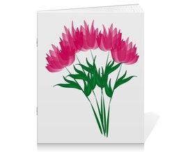 """Тетрадь на скрепке """"розовые абстрактные цветы"""" - праздник, цветы, розовый, подарок, букет"""