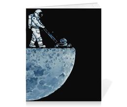 """Тетрадь на скрепке """"Лунакосилка"""" - луна, moon, космонавт, moonwalk"""