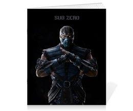 "Тетрадь на скрепке ""Mortal Kombat X (Sub-Zero)"" - компьютерная игра, воин, sub-zero, mortal kombat, драка"