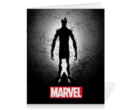 "Тетрадь на скрепке ""Marvel"" - комиксы, marvel, енот, грут"