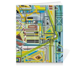 """Тетрадь на скрепке """"Березка"""" - арт, абстракция, фигуры, бирюзовый"""