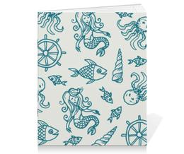"""Тетрадь на скрепке """"Морские обитатели"""" - море, рыба, осминог, русалка, штурвал"""