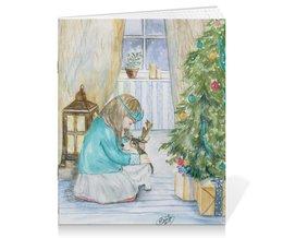 """Тетрадь на скрепке """"Новогодний сюрприз """" - зима, собака, природа, новыйгод, корги"""