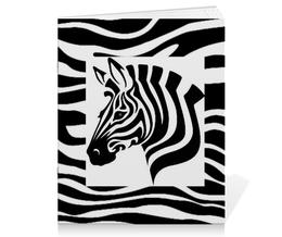 """Тетрадь на скрепке """"Зебра"""" - зебра, белый, чёрный, дизайн, графика"""