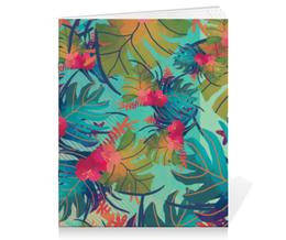 """Тетрадь на скрепке """"Джунгли"""" - цветы, краски, природа, акварель, джунгли"""