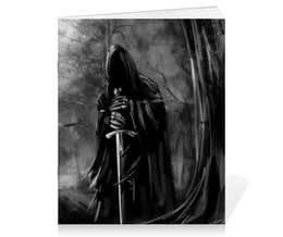 """Тетрадь на скрепке """"Смерть с мечом"""" - череп, готика, смерть, мистика, металл"""