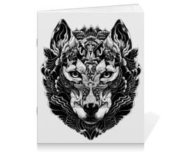 """Тетрадь на скрепке """"Волк Стилизация 2"""" - волк, wolf, волчица"""