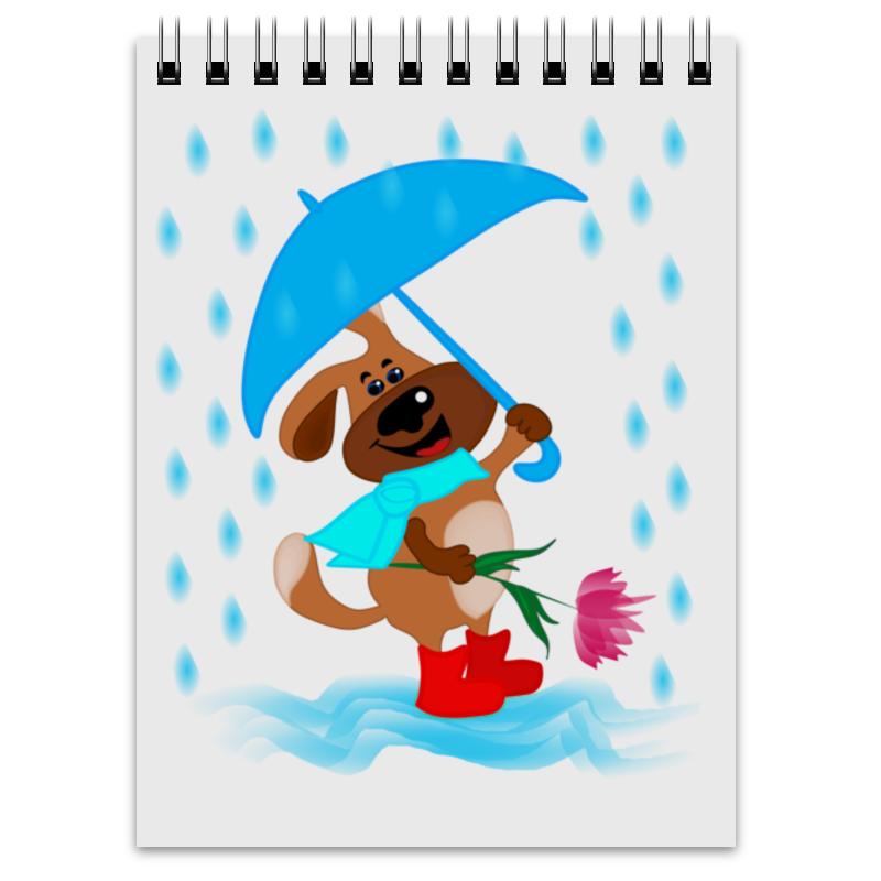 Блокнот Printio Пес с зонтом и цветком цена