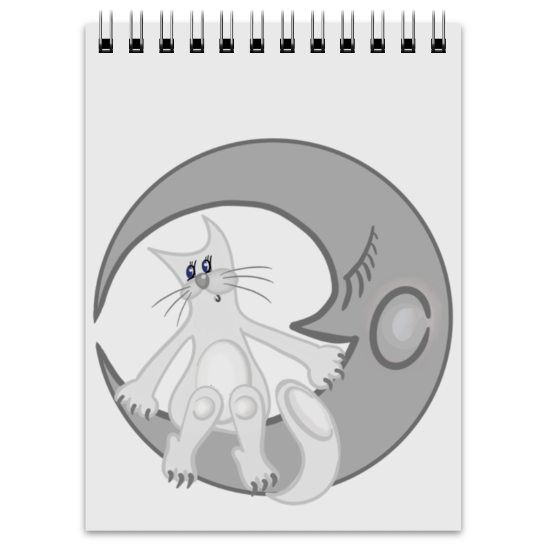 Блокнот Printio Лунный кот сидит на луне блокнот printio чёрный кот