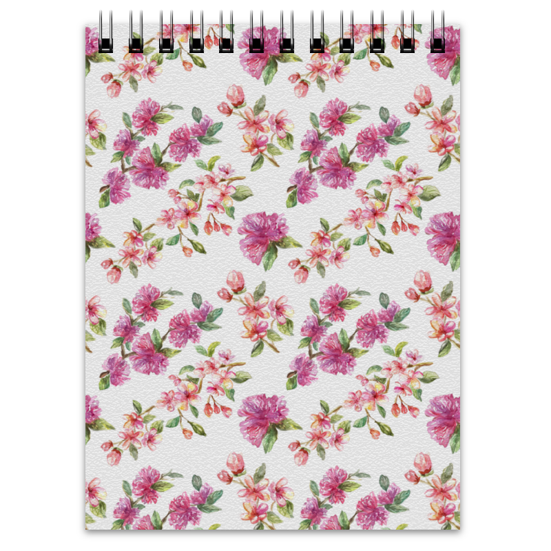Блокнот Printio Цветочный узор сакура и цветы яблони невидимка для волос funny bunny розовые цветы 2 шт
