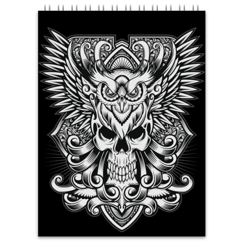 Блокнот Printio Череп триптих в черно белых тонах