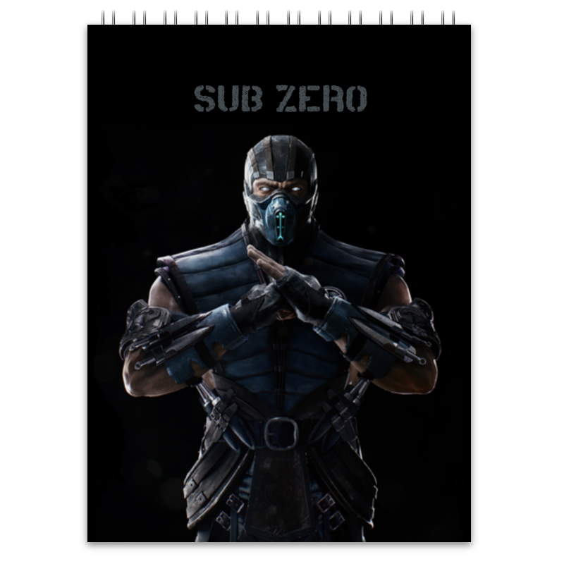 Блокнот Printio Mortal kombat x (sub-zero) зеркало с фацетом в багетной раме поворотное evoform exclusive 53x83 см прованс с плетением 70 мм by 3407