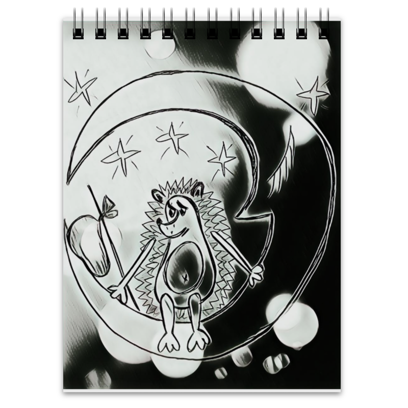 Блокнот Printio Ежик на луне часы ежик c листочком mitya veselkov часы ежик c листочком