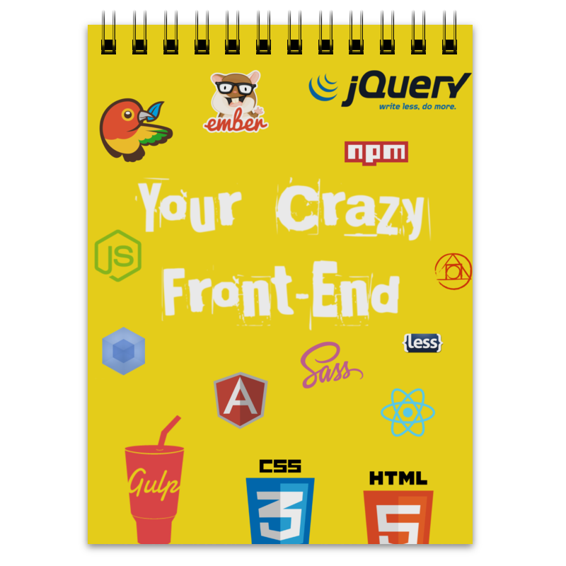 Блокнот Printio Your crazy front-end вертлюг aqua sy 1707 05 8шт