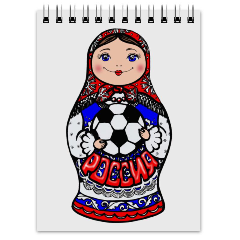 Блокнот Printio Русская матрешка с футбольным мячом цена