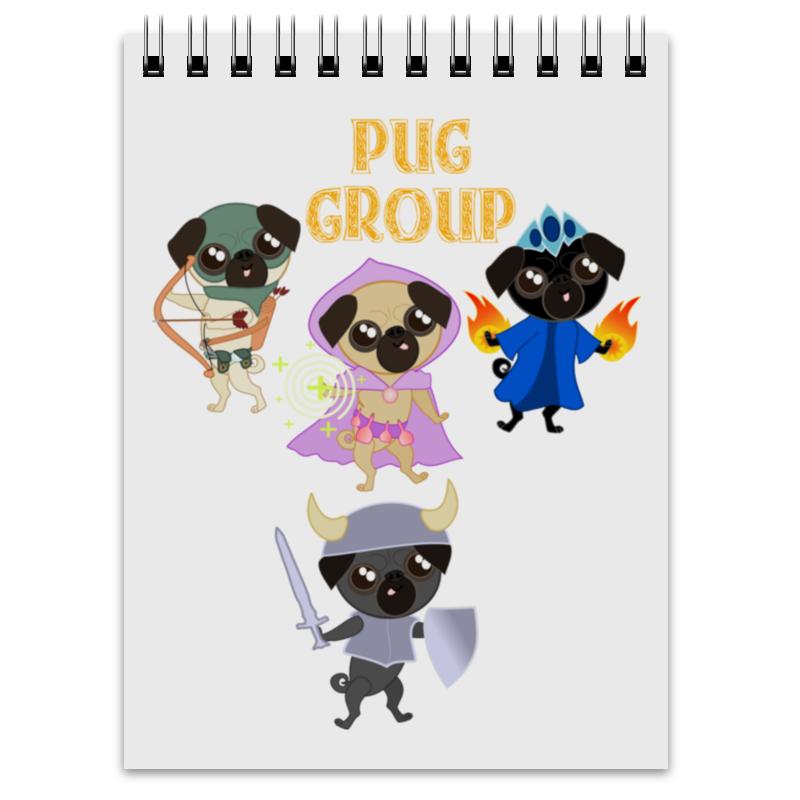 Блокнот Printio Мопсы — герои. pug group. цена