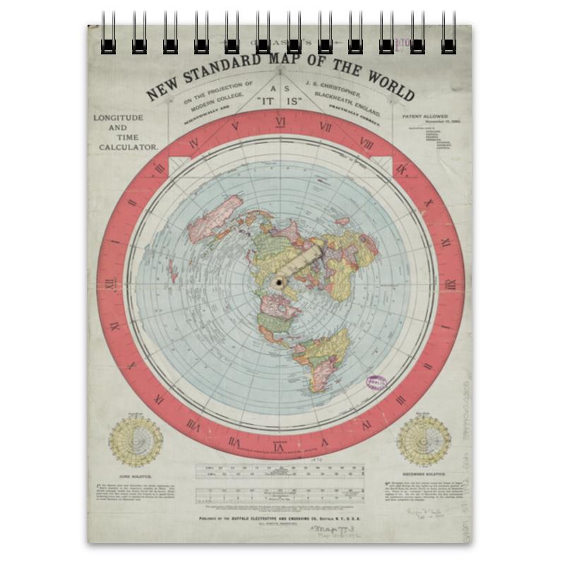 Блокнот Printio Карта плоской земли