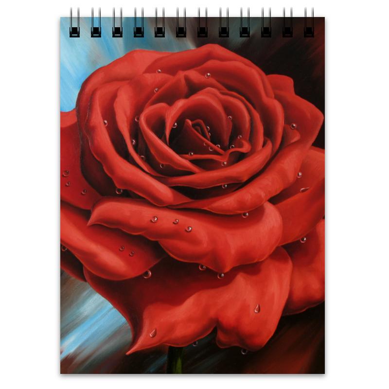 Блокнот Printio Красная роза пламенная роза тюдоров
