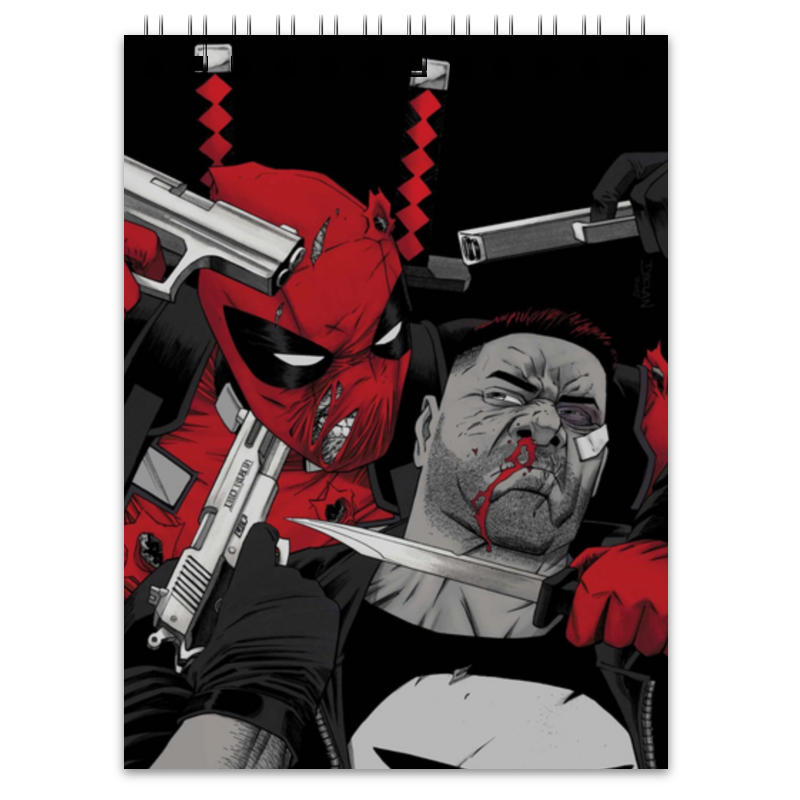 Блокнот Printio Deadpool vs punisher плакат a3 29 7x42 printio deadpool vs punisher