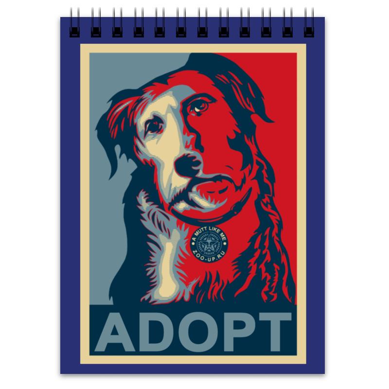 Блокнот Printio «adopt a dog!», в стиле плаката плакат a3 29 7x42 printio adopt a dog