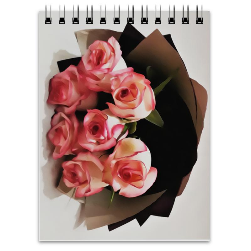 Блокнот Printio Розовые розы невидимка для волос funny bunny розовые цветы 2 шт