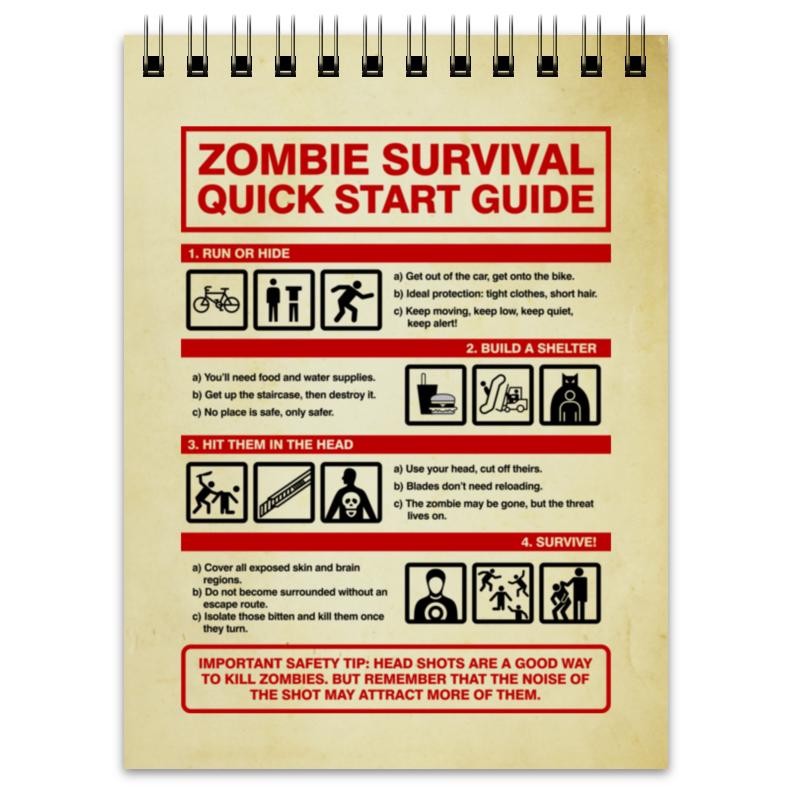 Блокнот Printio Зомби апокалипсис. инструкция по выживанию блокнот printio прогулки по городу