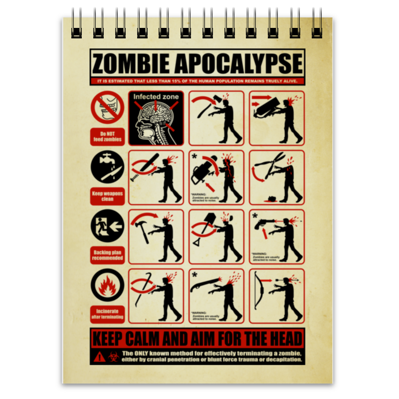 Блокнот Printio Зомби апокалипсис. по выживанию