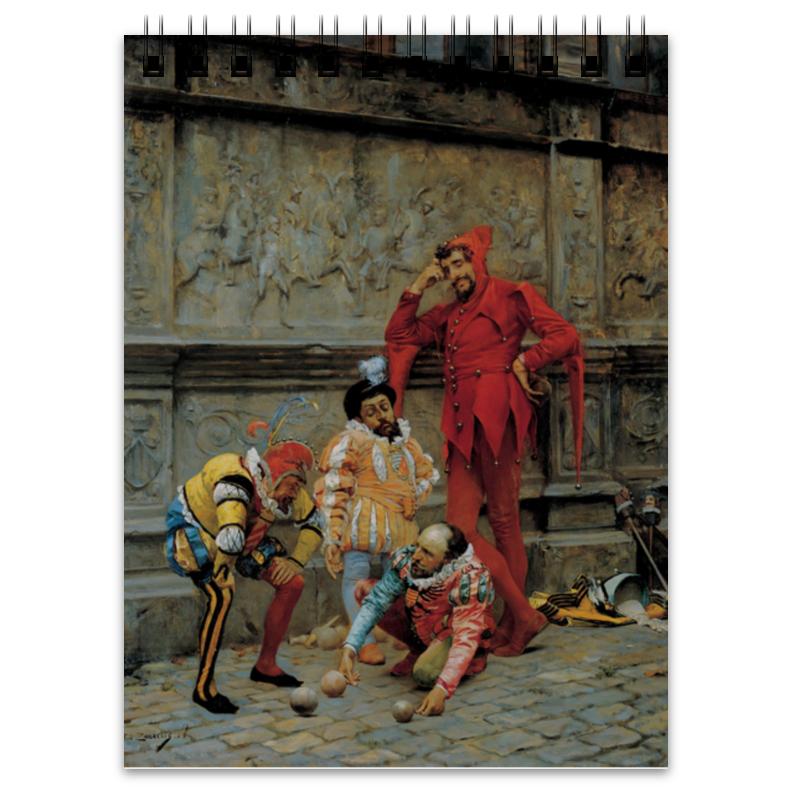 Блокнот Printio Шуты, играющие в петанк (эдуардо забала)