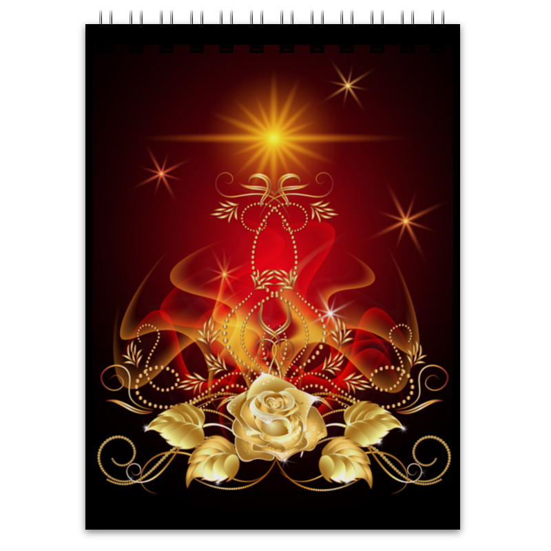 Блокнот Printio Золотая роза пламенная роза тюдоров
