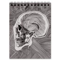"Блокнот ""Череп"" - skull, череп, линии, stripes"