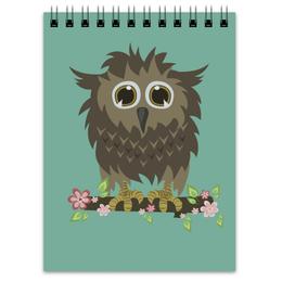 """Блокнот """"Весенний сычик"""" - цветы, хищник, птица, весна, сова, дерево, owl, сыч, лохматый"""