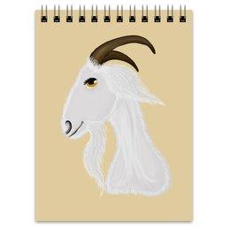"""Блокнот """"Голова белого козла"""" - голова, злость, изумление, белый козел, удивленный козел"""